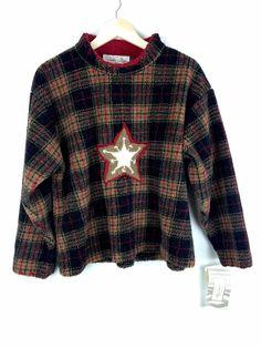 db464cee3f Tasha Polizzi- Women s Star Crew Plaid Sweater Size M