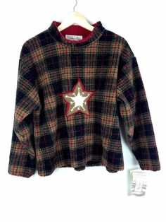 Tasha Polizzi- Women's Star Crew Plaid Sweater Size M, NWT!  | eBay