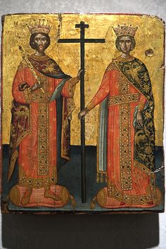 Icon of the Holy Equal-to-the-Apostles Emperor Constantine and Queen Elena, Athens. Byzantine and Christian Museum. Вера Заварицкая Flickr.Святой равноапостольный царь Константин и равноапостольная царица Елена.