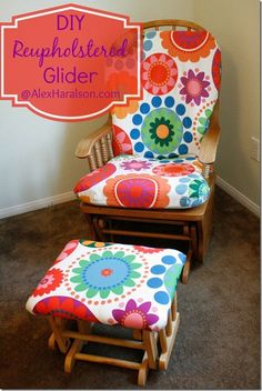 DIY Reupholstered Glider (Alex Haralson) is part of Recover glider rocker - DIY Reupholstered Glider (Alex Haralson) NurseryGlider Rocker Recover Glider Rocker, Glider Rocker Cushions, Rocking Chair Cushions, Glider Chair, Glider Rockers, Glider Redo, Ottoman Cushions, Sewing Projects, Diy Projects