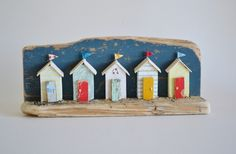Handmade Cornish Driftwood 'Summer Huts' Miniature Beach Hut Scene. £32.00