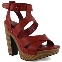 Womens Stacked Heel Platform Sandals Red ($27) ❤ liked on Polyvore featuring shoes, sandals, wood sandals, wood shoes, red party shoes, red platform sandals and red platform shoes