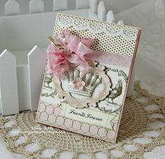 SALE Shabby Chic Handmade Card Forever Friends Pink Crown. $6.50, via Etsy.