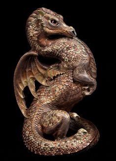 "Windstone Editions ""Checkered Copper 1"" Emperor Dragon Figurine Fantasy Statue 