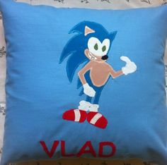Happy Pillow- Sonic- handmade pillow  35x35 cm  Order at: happy_pillows@yahoo.com