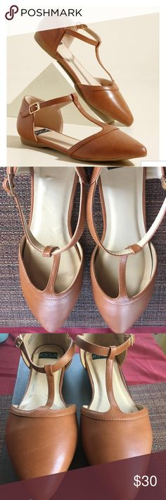 Turn Back Prime Vegan Flat in Caramel- Price Firm Love these super cute flats! Unfortunately they didn't fit me. They feature an ankle strap with closure. The heel is .5 inches. Condition: New with Box. Please Note: Price Firm Modcloth Shoes Flats & Loafers