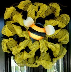 Yellow Bumble Bee Deco Mesh Door Wreath by JoyfullyYoursWreaths