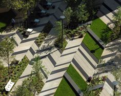 interesting paving mixture, angular pattern and mixture of landscape