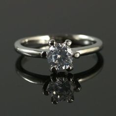 ~♥ LOOK ♥~ Lab-Created 6mm Diamonds Prong Setting 18KT Plated ring Size 5.5