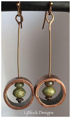 Copper pipe and Czech bead earrings by LjBlock Designs