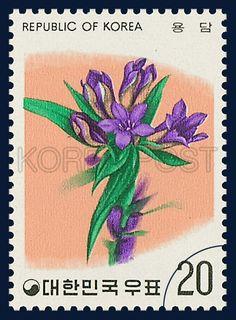 Postage Stamps of Flower Series, an autumn bellflower, Flower, purple, orange, green, 1975 11 15, 화초 시리즈 (제5집), 1975년 11월 15일, 991, 용담, postage 우표