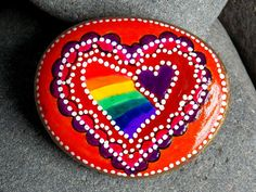 love always wins / hand painted rocks/ painted by LoveFromCapeCod