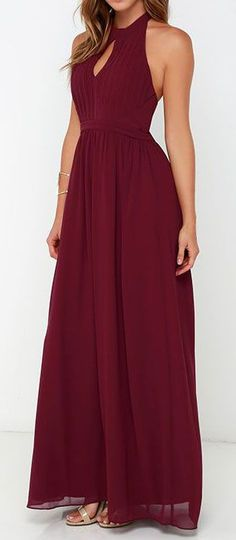 Ooh Gala-La Burgundy Maxi Dress More