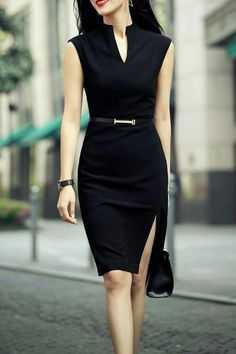 Shop zenpp black slit sheath dress here, find your knee length dresses at dezzal, huge selection and best quality. Office Dresses, Office Outfits, Dresses For Work, Work Outfits, Casual Office, Office Attire, Office Wear, Sexy Work Outfit, Blue Dress Outfits