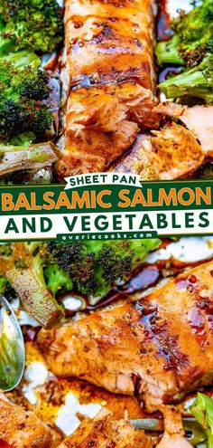 Impress family and friends with this sheet pan meal! Infused with balsamic glaze, this baked salmon with vegetables is a restaurant-quality dinner. Plus, this fish recipe is easy to make! Save this pin! Honey Lemon Salmon, Balsamic Salmon, Butter Salmon, Balsamic Glaze, Salmon Recipes, Fish Recipes, Vegetable Prep, Baked Salmon, Us Foods