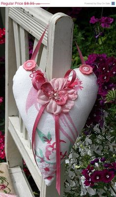 SALE Cottage Heart Hanging Heart Sachet