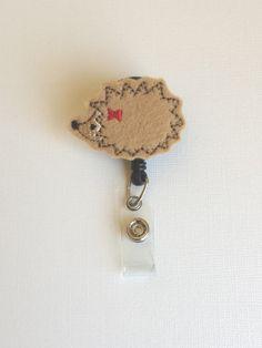 Brown Hedgehog Felt Badge Reel  Retractable by SimplyReelDesigns, $6.25