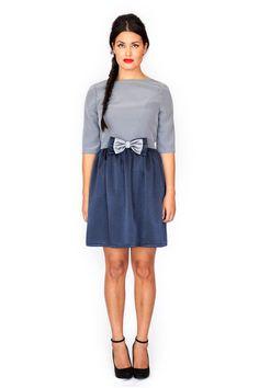 SAMPLE SALE Size M Mod baby doll navy grey dress 60s bow