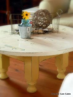 Cornbread and Cream Paint, Coffee Table, Distressed Furniture