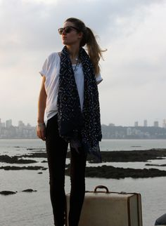 Black Bandhani scarf available www.andlondonuk.com