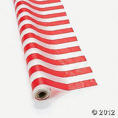 Circus party decor- J table cloth?  this is 100ft of plastic table cloth (could use for backdrop too if long enough ($21)