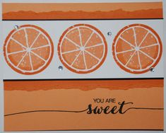 Stampin' Up! - Lemon Zest & Dare to Dream stamp set - Peekaboo Peach, Basic Black, Whisper White cardstock - Peekaboo Peach, Pumpkin, Tuxedo Black Memento ink pads - Check out my website for measurements and other ideas Fruit Stands, Cute Fruit, Ink Pads, Stamping Up, Cool Cards, Homemade Cards, Stampin Up Cards, Birthday Cards, Card Making
