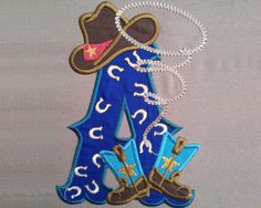 Cowboy Kicking boots, personalized Custom Letter, only one any letter to choose from the set - machine embroidery applique designs 5x7