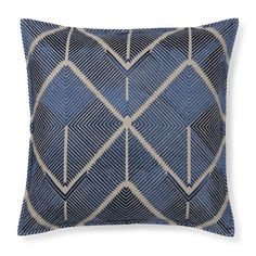 All Over Embroidered Diamond Pillow Cover, Blue | Williams-Sonoma