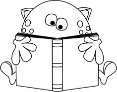 Black and White Monster Reading a Book Clip Art - Black and White Monster Reading a Book Image Monster Coloring Pages, Online Coloring Pages, Coloring Pages For Boys, Coloring Books, Monster Theme Classroom, Minecraft Coloring Pages, Book Clip Art, Cute Monsters, Monster Party