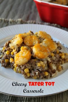 Hamburger tater tot casserole with cream of mushroom soup- I'd use venison but this looks easy and it's stuff we keep on hand.