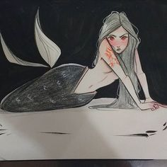 @theanimatedlife is drawing mermaids so I needed to draw a quick one! :) a Dark mermaid #traditional her mermaids are the best ❤