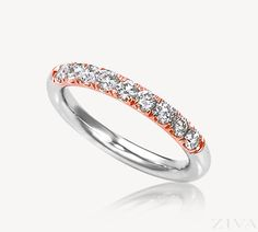 Round Diamonds French Pave Set in Rose Gold Provide the Personal, Feminine Touch Women Love in Their Wedding and Anniversary Bands. Neutral color of the white gold band makes it easy to match this band to any engagement ring Wedding Anniversary Rings, Wedding Rings, Stackable Rings, Eternity Bands, Diamond Wedding Bands, Round Diamonds, Diamond Cuts, White Gold, Rose Gold