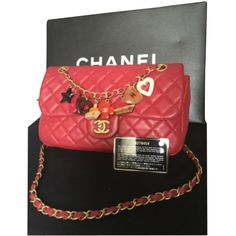 Pre-owned Chanel Special Edition Valentine Shoulder Bag featuring polyvore, fashion, bags, handbags, shoulder bags, red, leather shoulder bag, quilted shoulder bag, red leather purse, red leather shoulder bag and red purse