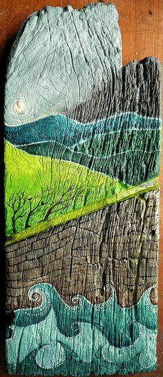 painting driftwood...gotta love driftwood