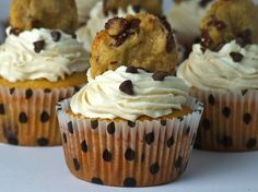 Chocolate Chip Cookie Dough Cupcakes - I had these at a birthday party - holy cow, so good!