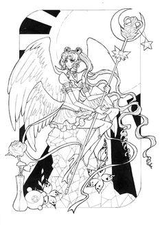 dessin à colorier Sailor Moon par Dar-Chan. Imprimer image noir&blanc, coloriez ce dessin anti stress et relaxez. Free adult colouring page!!