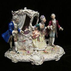 LRGE Unterweissbach Volkstedt Dresden 3 Person Victorian Porcelain Figure