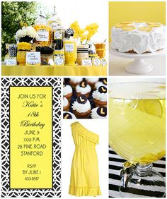 Yellow and Black - love the off-the-shoulder dress idea for her party dress.