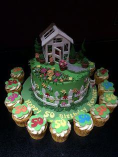 50 th birthday cake, garden cake