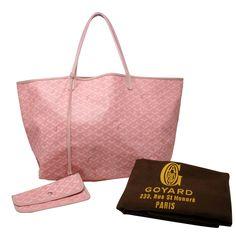 GOYARD Signature St Louis Gm Pink Canvas Leather Shopper Tote Travel Bag