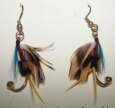 Fishing Lures, Fly Fishing, Fish Hook Earrings, Fly Tying, Beads And Wire, Country Girls, Diamond Earrings, Unique Jewelry, Crafts