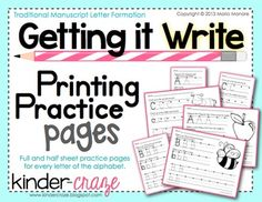 This Getting it Write set includes 52 pages of printing practice in the traditional manuscript style of letter formation. Full and half-sheet pract. Classroom Activities, Learning Activities, Kids Learning, Classroom Ideas, Differentiated Kindergarten, Kindergarten Writing, Professional Learning Communities, Printing Practice, Writing Station