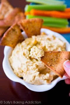 Homemade Hummus with Crunchy Spiced Pita Chips. This is my favorite (super simple) homemade hummus recipe, you will make it time and time ag...