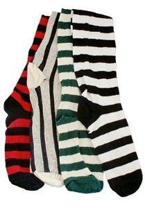 MLH A-09-SK01 stripe red-black Stripey Renaissance socks by MLH. Save 23 Off!. $14.45. Innovative - will enhance your well being.. Renaissance Socks with horizontal stripes. Amazing over the knee stockings in 100% cotton with a tad of lycra at the top to keep them from tumbling down.
