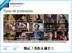 Tipos de profesores por @HogwartsTM   Gracias a http://www.vistoenlasredes.com/   Si quieres leer la noticia completa visita: http://www.estoy-aburrido.com/tipos-de-profesores-por-hogwartstm/