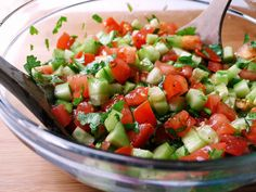 Tomato & Cucumber Salad - along with other delicious and healthy salad recipes. This is one of my favorite salads to make! I like to add some more flavor to this amazing salad by adding bell peppers, red onion, and Greek balsamic vinegar. Paleo Salad Recipes, Summer Salad Recipes, Summer Salads, Real Food Recipes, Cooking Recipes, Healthy Recipes, Healthy Summer, Cucumber Recipes, Top Recipes