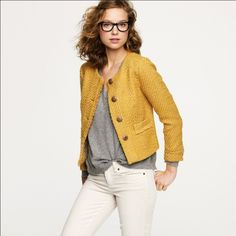 Mustard J.Crew Tweed Cropped Coat Super warm for Fall and can transition into winter! J. Crew Jackets & Coats Pea Coats