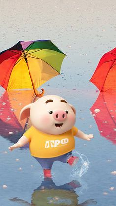 Pig playing with water - Pig Wallpaper, Wallpaper Iphone Cute, Disney Wallpaper, This Little Piggy, Little Pigs, Baby Cartoon Characters, Cute Piglets, 3d Art, Pig Illustration