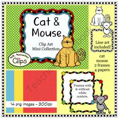 Cat and Mouse Mini Doodle Clip Art Collection from KB Konnected Clips on TeachersNotebook.com -  (14 pages)  - Cat and Mouse Mini Doodle Clip Art Collection