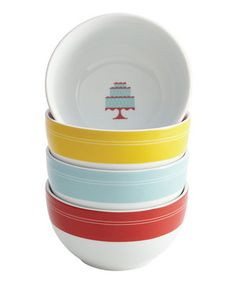 This Retro Cakes Ice Cream Bowl Set by Cake Boss is perfect! #zulilyfinds